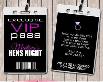 Hens Night Personalised VIP Lanyard Invitations x 10