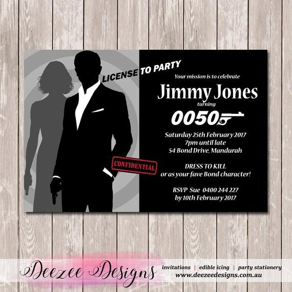 James Bond 007 Birthday Invitation