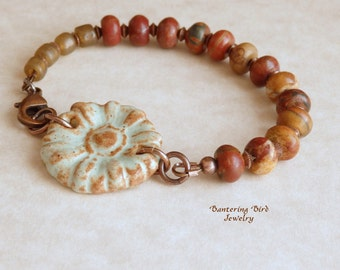 Earthy Brown Beaded Bracelet, Picasso Jasper Stone Beads with Green Ceramic Flower Cuff, Unusual Artisan Copper Jewelry, Unique Gift for Her