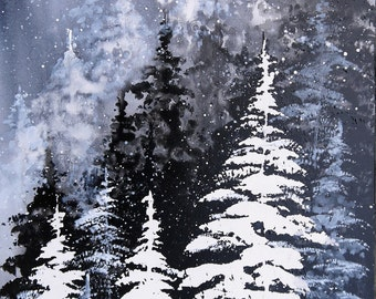 Winter Landscape Snow Pine Trees Forest Snowscape Bob Ross Style Painting