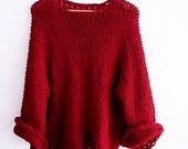 Knitted sweater, oversized jumper long sleeves  slouchy red pullover, women sweater soft