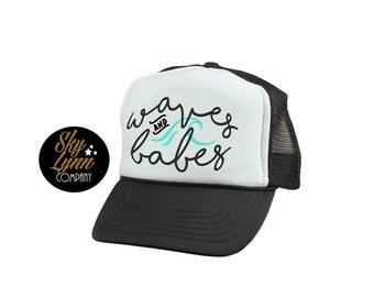 Snapback Beach Waves & Babes Printed Trucker Hat Black White Mesh