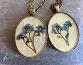 CUSTOM Pressed Flower Botanical Necklace in Resin Forget Me Not
