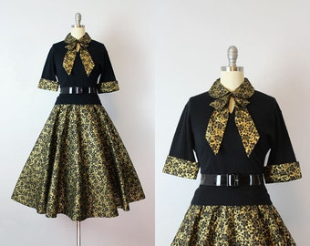 vintage 50s sweater skirt set / 1950s ALEX COLEMAN dress set / black and gold top skirt / cashmere sweater / quilted circle skirt