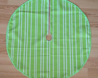 "Small 21"" Apple Green Stripe Tree Skirt - FREE Shipping - RicRac Trim, Made in USA"