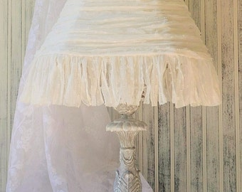 Tall table lamp Grey white washed Silk chiffon Lampshade Cottage Shabby Chic Victorian Upcyclesisters