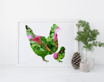 Chicken Lover: Hen and Chick, Digital Download, Spring Art, Farmhouse Decor, Crazy Chicken Lady, Calla Lily