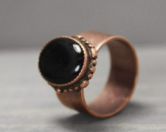 Black Tourmaline Ring, Adjustable Ring, Black Ring, Copper Ring, Statement Ring, Grounding Ring, Meditation Jewelry, Crystal Jewelry, Schorl