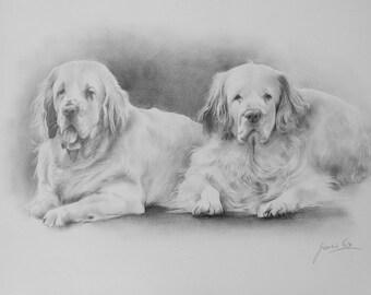 "Custom Pets Portrait, Two Pets Portrait, Pencil Drawing Portrait, Personalized Easter Gift, 12 x 16"" Pencil Drawing, Portrait From Photo"