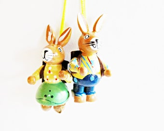 Pair of Lovely Vintage Wooden Bunny Ornaments Couple with Backpacks- Home decor for Easter