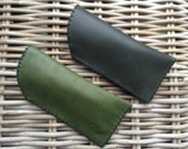 CLEARANCE SALE! Handstitched in UK with black zig zag stitch dark green leather glasses case lined with black felt