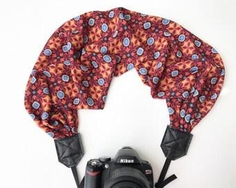 Scarf Camera Strap - dslr camera strap - camera neck strap - red yellow blue Aztec geometric pattern