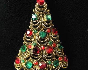 Vintage Pakula Christmas Tree Brooch, Pakula Vintage Holiday Tree Brooch, Pakula Collectors, Vintage Pakula Christmas Jewelry, C 17