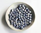 CUSTOM listing for Karen, blue and white splash beads, blue and white stripe beads, small beads, handmade beads