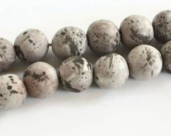 Grey/Black, Speckled beads, Terracotta beads, handmade clay beads, African Beads, boho beads, 12 white, grey ceramic beads, speckled beads