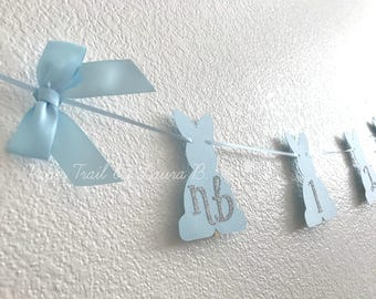 Bunny 1st Year Photo Banner in Light Blue and Gold.  Some Bunny is One!  First Birthday Decorations.  Spring Birthday Party Decor.