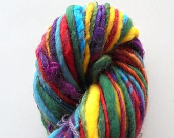OVER THE RAINBOW - Soft Handspun Yarn, Thick and Thin Yarn, Luxury Yarn, Bulky Merino Yarn, Miniskein, bamboo, kid mohair locks, angelina