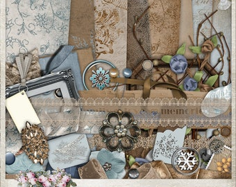 Winter's Day | Digital Scrapbook Kit | Scrapbooking | Digital Papers | Printable Journal Kit | Blue | Brown | Glitter | If On A Winter's Day