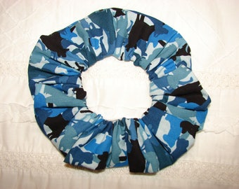 Dogs canines blue silhouettes camo handmade Fabric Hair Scrunchie, womans scrunchies, dog lovers gifts, women's accessories, gifts for her