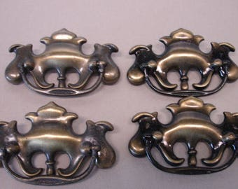 Lot of 4 Colonial Style Pull Handles Revinal Style Pulls Brass Pulls Furniture Pulls Lot no. 16