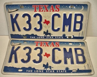 Set of Texas License Plates K33-CMB With Cowboy Oil Well Space Craft Auto Plates