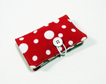 Christmas White Dots on Red Fabric Business Card Holder, with Red Green Polka Dot  - Credit Card Holder, Cloth Card Holder, Gift Card Holder