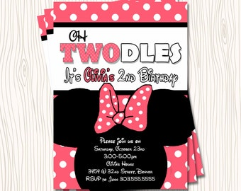 Custom Minnie Mouse - Oh Twodles Toodles Pink or Red Polka Dot Birthday Party Invitation   - Any Color