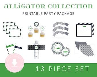 INSTANT DOWNLOAD Alligator Printable Birthday Package (Alligator Birthday, Preppy Alligator Birthday, Alligator Birthday Decorations)