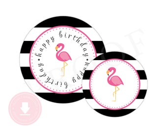 INSTANT DOWNLOAD Flamingo Party Circles (Flamingo Birthday Decor, Printable Party Circle, Printable Flamingo Decorations, Black Flamingo)