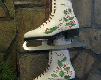 Ice Skates...up-cycled and hand-painted  for your holiday decor! ON SALE NOW!