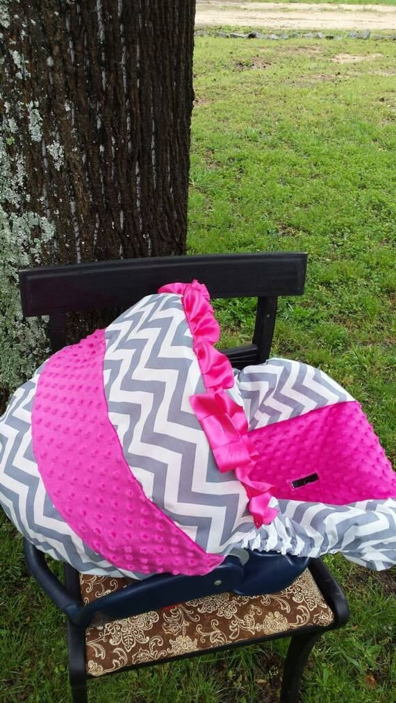 Pink Grey Chevron Stripe Hot Pink Minky Baby Car Seat Cover