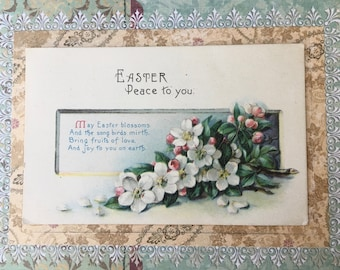 Pretty Edwardian Era Easter Postcard with Apple Blossoms