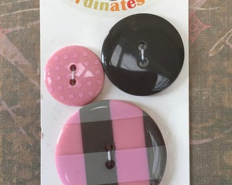 """3 Pretty """"Coordinates"""" Buttons by LaMode in Pinks and Taupe Colors on Original Card"""