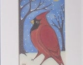 winter Cardinal in white  Mat by lisa arkus free shipping