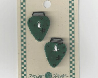 Clearance - Debbie Mumm Green Christmas Bulb Button Set #43047