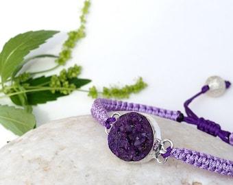 Macrame Druzy Gesmtone bracelet Purple Stacable bracelets Best Friend gift Natural stone Friendship Silver Everyday Jewelry