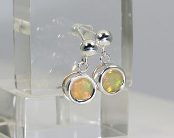 Reserved for Izumi - Opal (Ethiopian 'Yita Ridge' Opals), 6mm x 0.32 Carat, Round Cut, Sterling Silver Dangle Stud Earrings