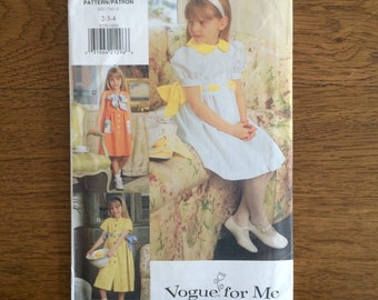 Girls Spring Summer Dress Pattern, Easter Dress, Sunday Dress, Vogue for Me 9229 - Sizes 2 3 4
