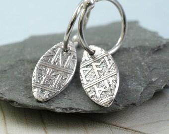 Eco Fine Silver Rune Leaf Drop Earrings on Sterling Silver Hoops.