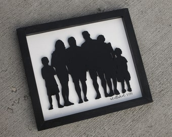 SIZE MEDIUM Family Silhouette Wood cut-out, with established year option
