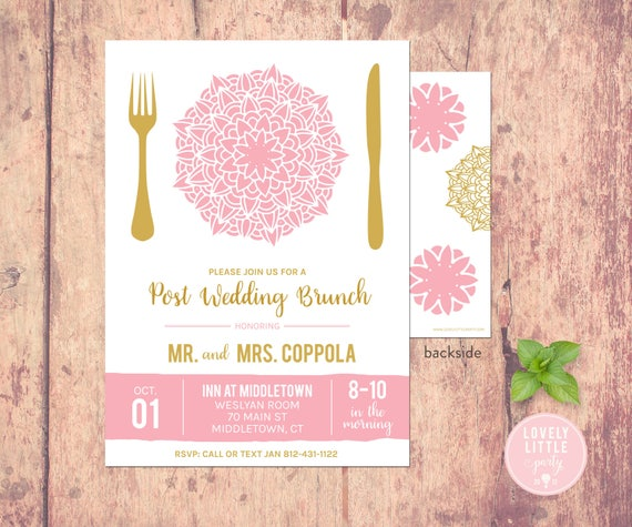 Post Wedding Breakfast/Brunch Invitation - Plated Floral Collection -  Lovely Little Party