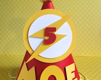 Flash Inspired Birthday Party Hat  - Personalized for birthday child - with Trim Added