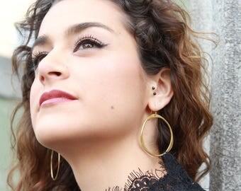 Simple large hoop earrings in 14k gold fill or sterling silver