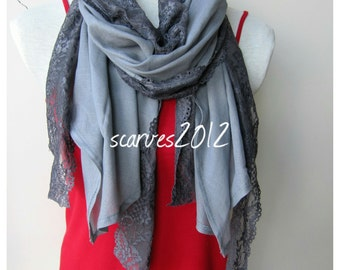 Shawl wrap Scarf, gray cotton lace scarf-shabby chic lace scarf-Turkey-2016 trends-fall FASHIONscarves embellished womens scarves scarf