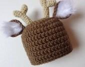 Ready to Ship Newborn Deer Hat Reindeer Hat Knit Hat Animal Hat Baby Boy Baby Girl Photo Prop