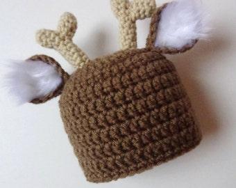 Newborn Deer Hat Reindeer Hat Crochet Hat Knit Hat Animal Hat Baby Boy Baby Girl Photo Prop