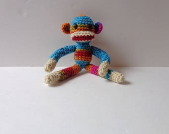 Ready to Ship Crochet Sock Monkey Baby Girl Baby Boy Photo Prop Rainbow Sock Monkey Doll Toy 8inches