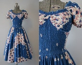 1940's Daisy Print Sun Dress by Matletex / Size Small