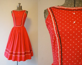 1950's Red Sundress / Size Small