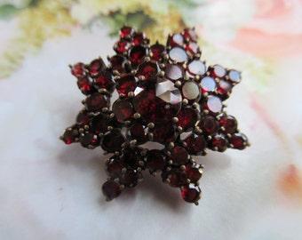 Antique Bohemian Garnet Star Pin - Victorian Garnets - January Birthstone Jewelry - Fine Estate Jewelry - Gemstone brooch - Bridal Bouquet